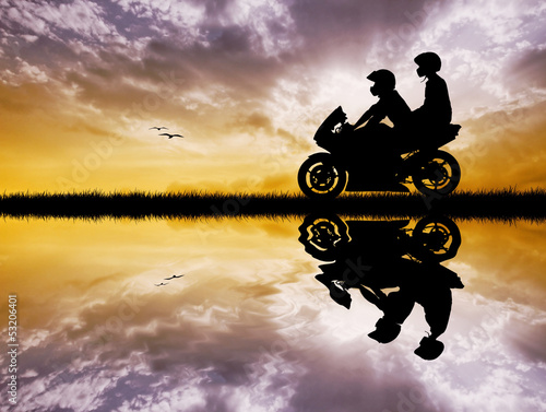 Wall mural couple on a motorcycle