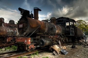 Wreck of communist locomotive in Havana, Cuba