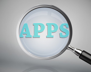 Magnifying glass showing apps word
