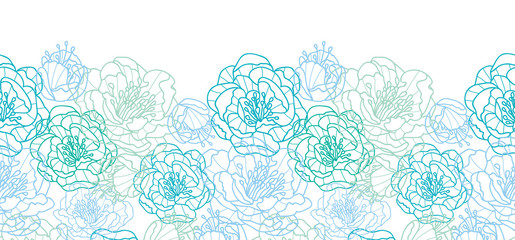 Vector blue line art flowers elegant horizontal seamless pattern