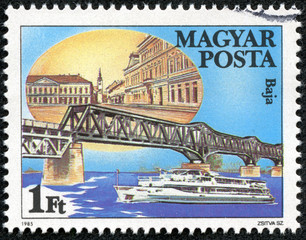 stamp printed by Hungary, shows Baja Bridge in Hungary