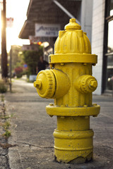 a yellow fire hydrant on the curb.