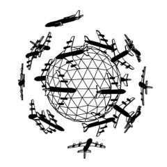 Globe with airplane.