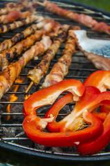 Grilled food prepared in garden
