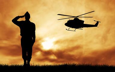 Foto op Canvas Militair soldiers silhouette