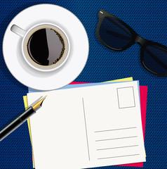 Vacances - Carte Postale - lunettes de soleil - vue du dessus - écrire - Stylo plume