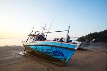 Thai fishery boat on the beach
