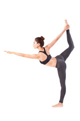 woman making a Yoga pose: Standing Bow Pulling Pose