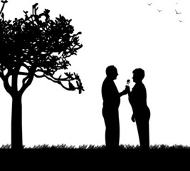 Retired elderly couple where man gives a flower woman in park