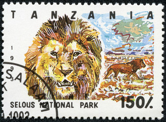 Stamp printed in Tanzania shows lion