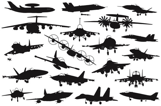 Military aircraft silhouettes collection. EPS 8