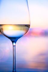 Art white wine on the summer sea background