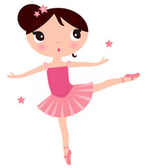 Cute Pink ballerina girl isolated on white