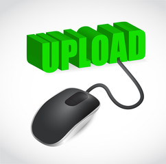 Computer mouse and upload word illustration
