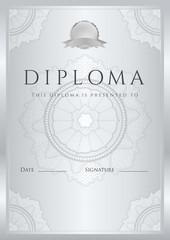 Silver Diploma /  Certificate template (design). Guilloche