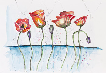 Happy  red poppies