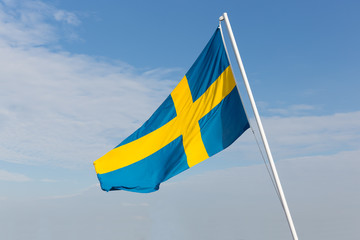 Flag of Sweden blowing in the wind