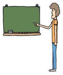 Kid in front of blackboard