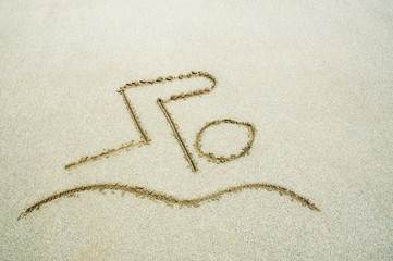 Dessin de nageur dans le sable