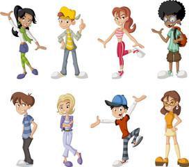 Group of eight happy cartoon children. Teenagers.
