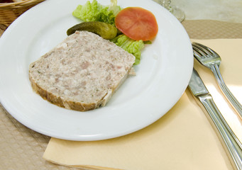 French food pate terrine of rabbit   photographed in Paris Franc