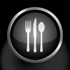 Silverware Fork Knife and Spoon Icon Symbol Vector