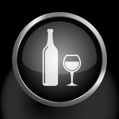 Wine Bottle and Glass Icon Symbol Vector