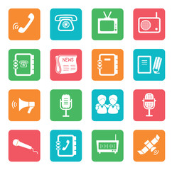 Set of communication icons. Color buttons.
