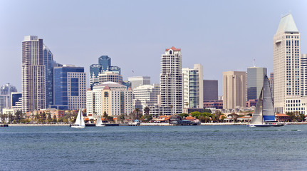Poster Canada San Diego skyline and sailboats.