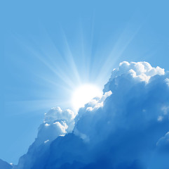 Fototapete - blue sky with sun and beautiful clouds