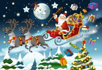 The cartoon santa claus - illustration