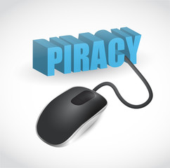 piracy sign connected to mouse illustration design