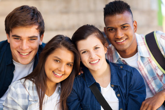 group of teen high shcool students