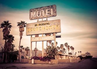 Fotobehang Route 66 Roadside motel sign - decayed iconic Southwest USA