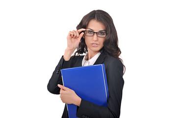 Wall Mural - бизнес-леди в очках и с синей папкой