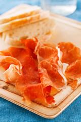 Platter of serrano jamon Cured Meat and ciabatta