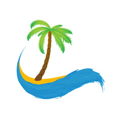 Tropical palm on island with sea. Vector icon.