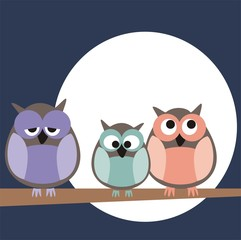 Vector owls family at a full moon night