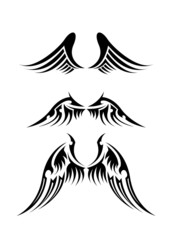 set of black and white tattoo of angel wings