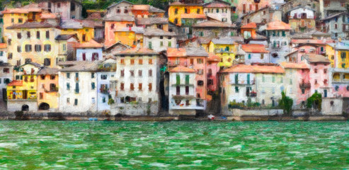 Village in Lake Como - Italy - oil paint
