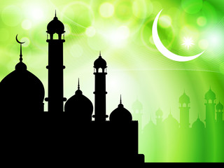 religious vector eid background with mosque.