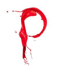Red Liquid alphabet letter P