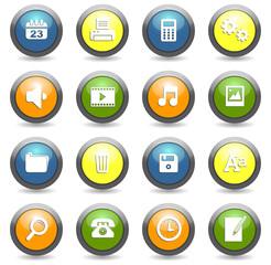 set icônes boutons ronds bureau quadri
