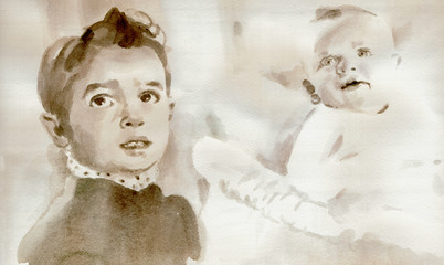 Hand painting - portrait of baby and child (watercolors)