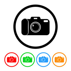 Camera Icon Vector with Four Color Variations