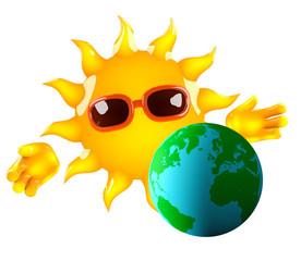 Sunshine warms the Earth