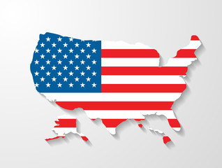 USA map shape with shadow effect presentation