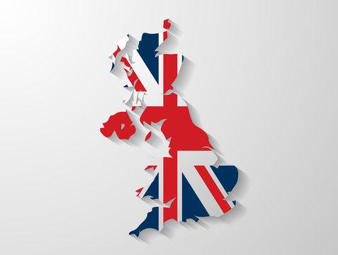 United Kingdom map whith shadow effect presentation