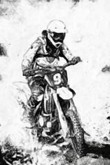 motocross - B&W oil paint