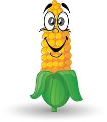 Мультфильм кукурузы с симпатичным лицом